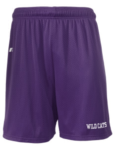 "West Central Middle School Wild Cats  Russell Men's Mesh Shorts, 7"" Inseam"