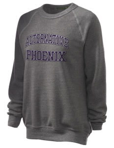 Alternative Academy Phoenix Unisex Alternative Eco-Fleece Raglan Sweatshirt with Distressed Applique