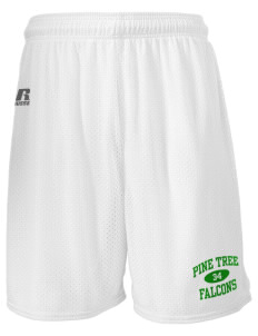 "Pine Tree Elementary School Falcons  Russell Men's Mesh Shorts, 7"" Inseam"