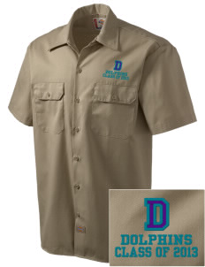 Day Middle School Dolphins Embroidered Dickies Men's Short-Sleeve Workshirt