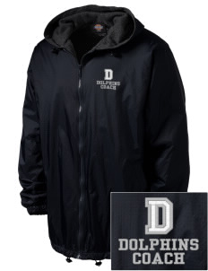 Day Middle School Dolphins Embroidered Dickies Men's Fleece-Lined Hooded Jacket