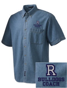 Redlands Adventist Academy Bulldogs  Embroidered Men's Denim Short Sleeve