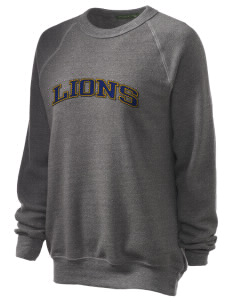 Our Lady Of Lourdes School Lions Unisex Alternative Eco-Fleece Raglan Sweatshirt with Distressed Applique