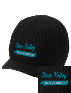Deer Valley High School Wolverines Embroidered Knit Beanie with Visor