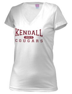 Kendall Elementary School Cougars Juniors' Fine Jersey V-Neck Longer Length T-shirt