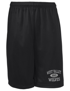 "West Valley Middle School Wolves Long Mesh Shorts, 9"" Inseam"