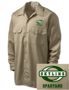 Skyline High School Spartans Embroidered Dickies Men's Long-Sleeve Workshirt