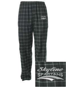 Skyline High School Spartans Embroidered Men's Button-Fly Collegiate Flannel Pant