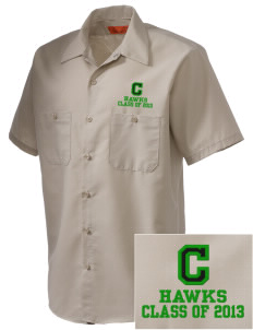 Cedarwood Elementary School Hawks Embroidered Men's Cornerstone Industrial Short Sleeve Work Shirt