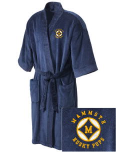 Mammoth Elementary School Husky Pups Embroidered Terry Velour Robe