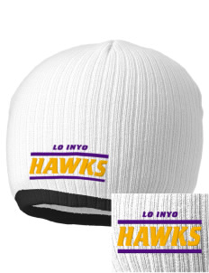 Lo Inyo Elementary School Hawks Embroidered Champion Striped Knit Beanie
