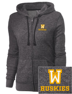 Washington Middle School Huskies Embroidered Women's Marled Full-Zip Hooded Sweatshirt