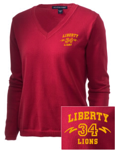 Liberty High School Lions Embroidered Women's V-Neck Sweater