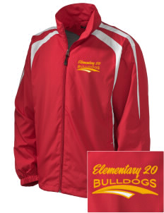 Elementary School 20 Bulldogs Embroidered Men's Colorblock Raglan Jacket