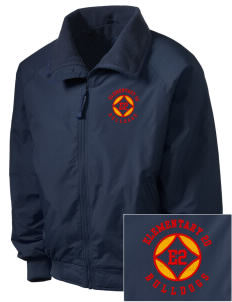 Elementary School 20 Bulldogs Embroidered Men's Fleece-Lined Jacket
