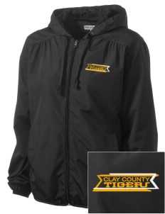 Clay County High School Tigers Embroidered Women's Hooded Essential Jacket