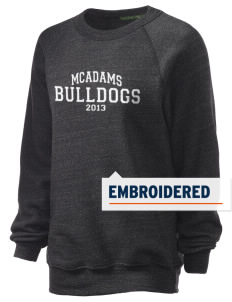 McAdams High School Bulldogs Embroidered Unisex Alternative Eco-Fleece Raglan Sweatshirt