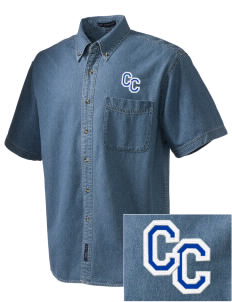 Community Christian School Crusaders  Embroidered Men's Denim Short Sleeve