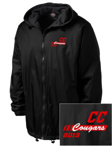 Community Christian School Cougars Embroidered Dickies Men's Fleece-Lined Hooded Jacket