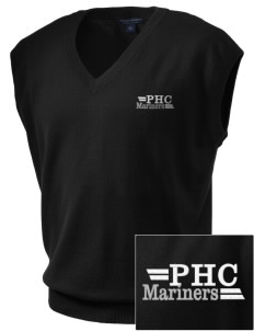 Pacific Harbor Christian School Mariners Embroidered Men's Fine-Gauge V-Neck Sweater Vest