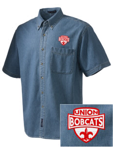 Union High School Bobcats  Embroidered Men's Denim Short Sleeve