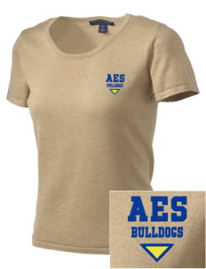 Anatola Elementx1y School Bulldogs Embroidered Women's Fine-Gauge Scoop Neck Sweater