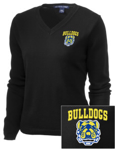 Anatola Elementx1y School Bulldogs Embroidered Women's V-Neck Sweater