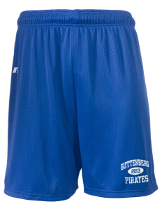 "Guttenberg Elementary School Pirates  Russell Men's Mesh Shorts, 7"" Inseam"