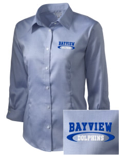 Bayview Elementary School Dolphins Embroidered Women's 3/4 Sleeve Non-Iron