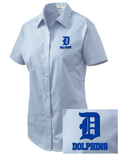 Bayview Elementary School Dolphins Embroidered Women's Easy Care Short Sleeve Shirt
