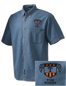 Tom Elementary School Tigers  Embroidered Men's Denim Short Sleeve