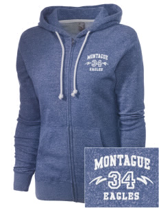 Montague Elementary School Eagles Embroidered Women's Marled Full-Zip Hooded Sweatshirt