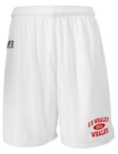 "O B Whaley Elementary School Whales  Russell Men's Mesh Shorts, 7"" Inseam"