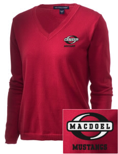 MacDoel Elementary School Mustangs Embroidered Women's V-Neck Sweater
