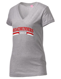 Willow Elementary School Roadrunners Juniors' Fine Jersey V-Neck Longer Length T-shirt