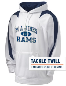 M A Jones Elementary School Rams Holloway Men's Sports Fleece Hooded Sweatshirt with Tackle Twill