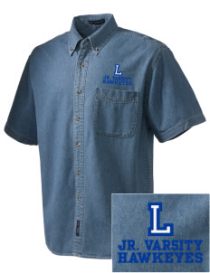 Lyndwood Elementary School Hawkeyes  Embroidered Men's Denim Short Sleeve