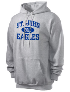 Saint John Elementary School Eagles Men's 7.8 oz Lightweight Hooded Sweatshirt