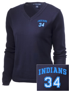 Evans Mills Primary School Indians Embroidered Women's V-Neck Sweater