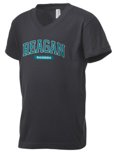 REAGAN HIGH SCHOOL Raiders Kid's V-Neck Jersey T-Shirt
