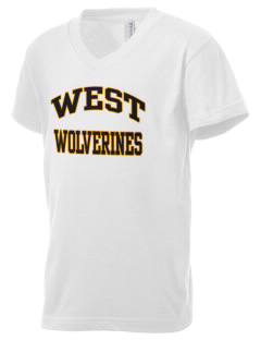 West Middle School Wolverines Kid's V-Neck Jersey T-Shirt