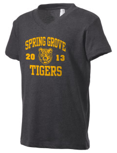 Spring Grove Elementary School Tigers Kid's V-Neck Jersey T-Shirt