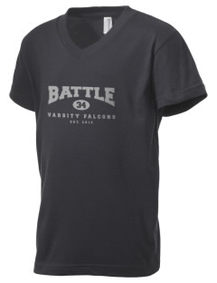 Battle Elementary School Falcons Kid's V-Neck Jersey T-Shirt