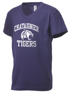 Chataignier High School Tigers Kid's V-Neck Jersey T-Shirt