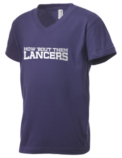 Our Lady Of Lord Saint James School Lancers Kid's V-Neck Jersey T-Shirt