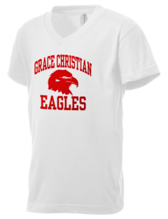 Grace Christian School Eagles Kid's V-Neck Jersey T-Shirt