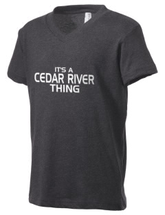 Cedar River School Raccoons Kid's V-Neck Jersey T-Shirt