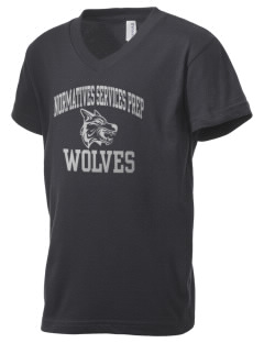 Normatives Services Prep School Wolves Kid's V-Neck Jersey T-Shirt