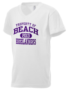 Beach Elementary School Highlanders Kid's V-Neck Jersey T-Shirt