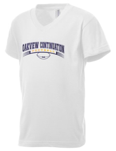 Oakview Continuation Senior High School Mustangs Kid's V-Neck Jersey T-Shirt